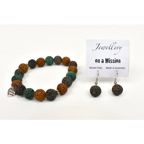 THSAPJ1237: (2 sets): Lava Rock (Brown) Bracelet and Earring