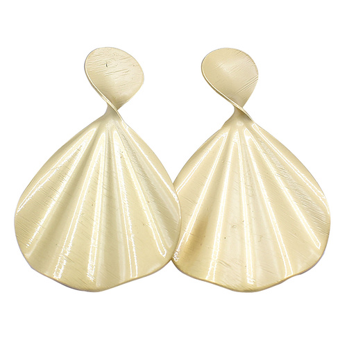 THSE1018: Gold: (2pairs)Brushed Fan Earrings