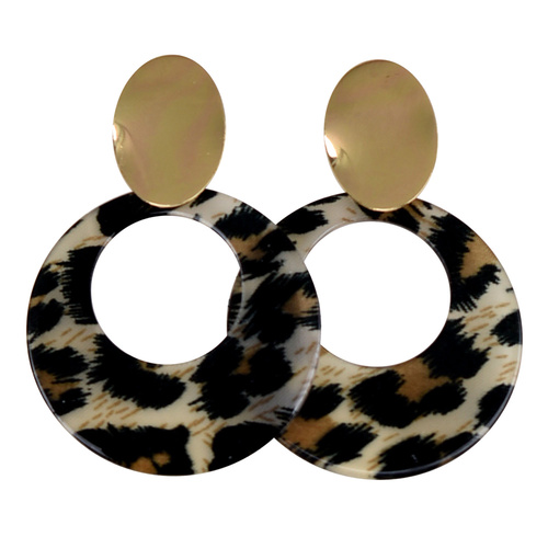 THSE1028: Black: (2pairs) Round Leopard Earrings