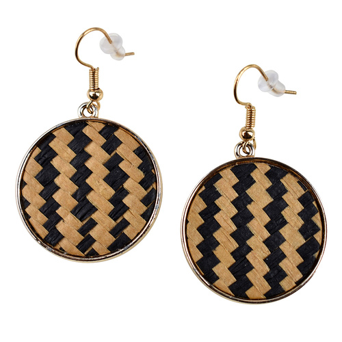 THSE1039: Beige: (2pairs) Round Weave Earrings