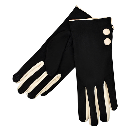 THSG1025: Black: 2 Buttons Beige Border Glove