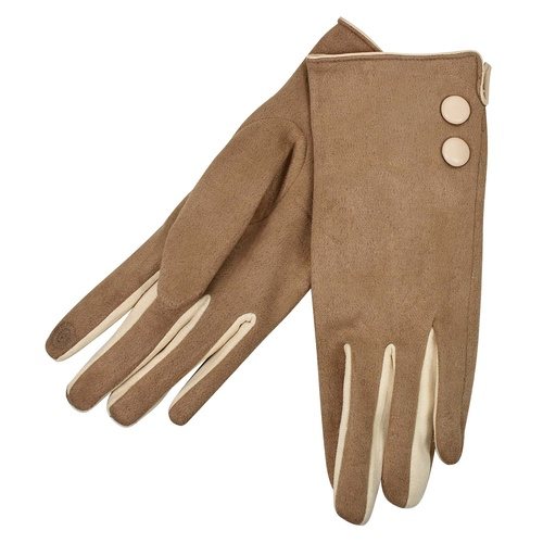 THSG1026: Latte: 2 Buttons Beige Border Glove