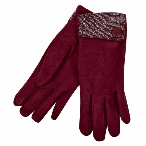 THSG1028: Wine: Big Button Cuffed Glove