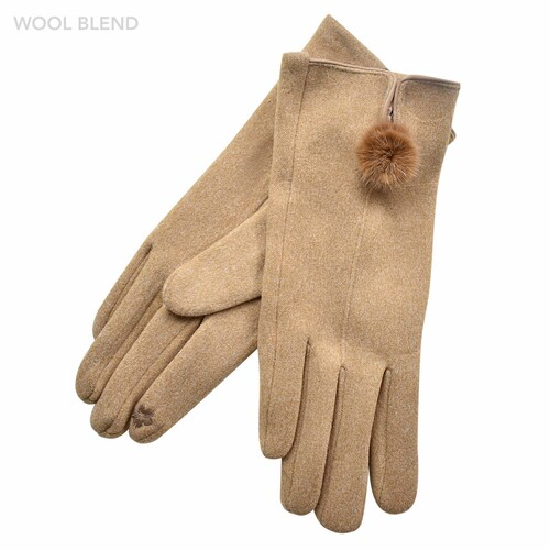 THSG1065: Camel: Fur Pom Pom Gloves