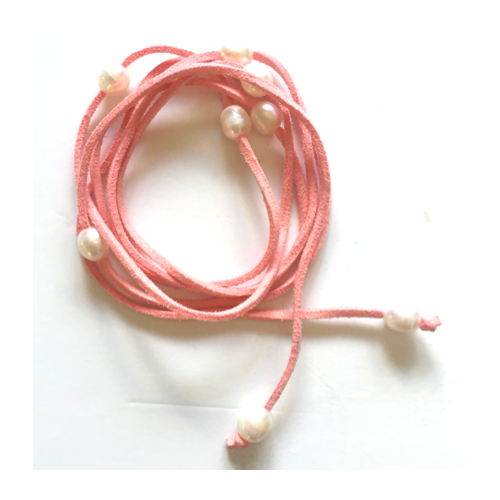 THSJ1055: (2pcs) Fresh Water Pearls with Suede Leather Strap: Pink