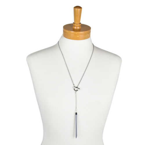 THSJ1156: (2pcs) Grey: Bella Pendant: Chain Necklace