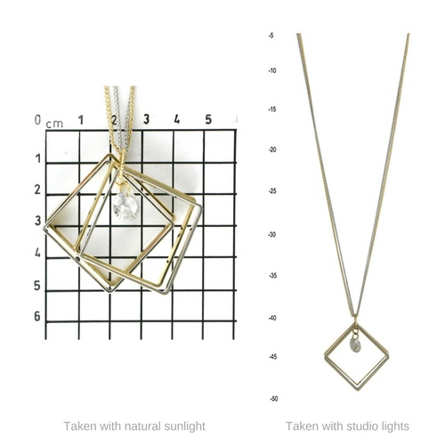 THSJ1157: (2pcs) Gold: Square Ringlets Pendant: Chain Necklace