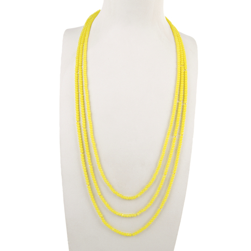 THSJ1177: (4pcs) Lemon: 3 Strands Bead Necklace