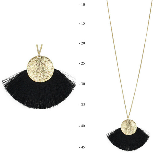 THSJ1187: (3pcs) Black: Fan Tassels Necklace