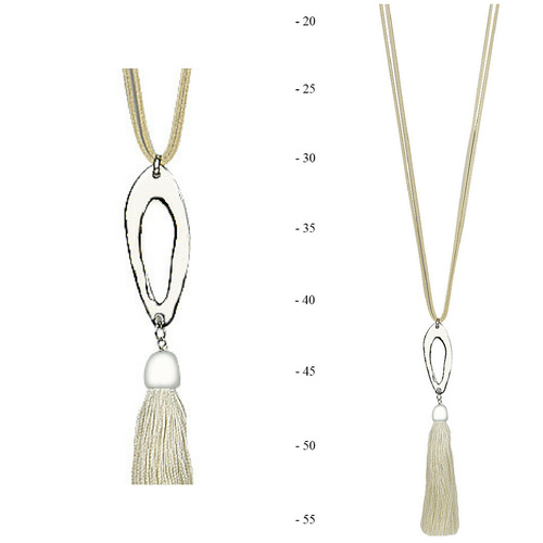 THSJ1195:(2pcs) Cream: Oval Frame Pendant Necklace