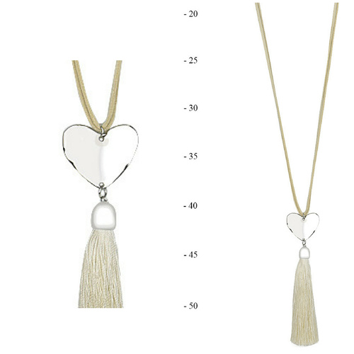 THSJ1205:(2pcs) Cream: Solid Heart Pendant Necklace
