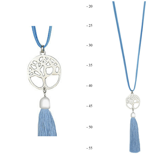 THSJ1213: (4pcs) French Blue:Tree of Life Pendant Necklace