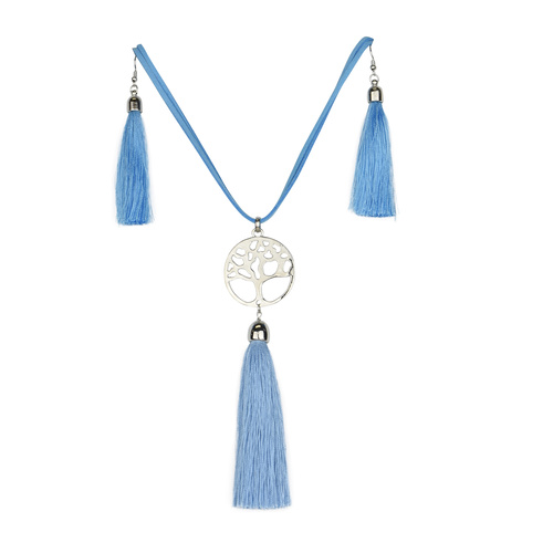 THSJ1213S: French Blue:Tree of Life Pendant Necklace And Earring Set