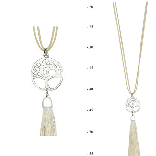 THSJ1215:(4pcs) Cream:Tree of Life Pendant Necklace
