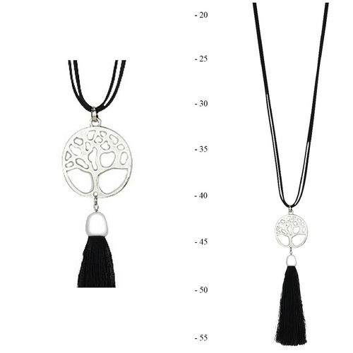 THSJ1216:(4pcs) Black:Tree of Life Pendant Necklace