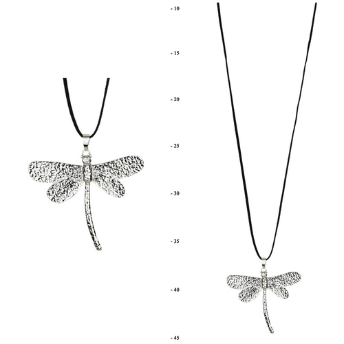 THSJ1224: (2pcs) Silver : Dragonfly Pendant Necklace