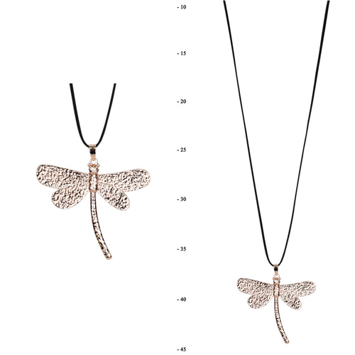 THSJ1225: (2pcs) Rose Gold: Dragonfly Pendant Necklace