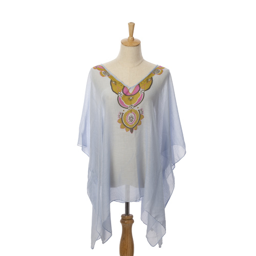 THSK1016: (4 pcs) Ethnic Kaftan Top: Blue