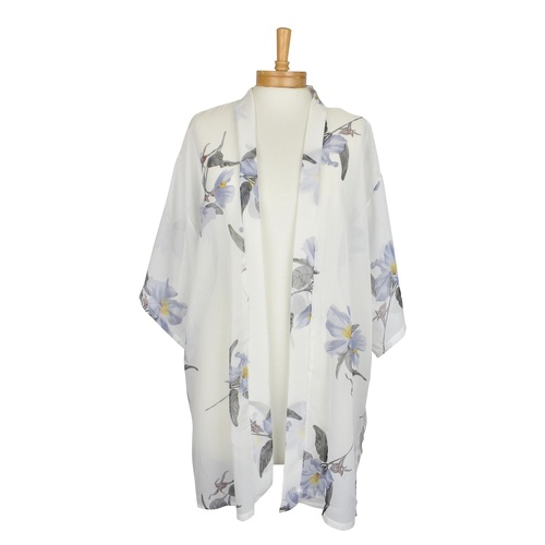 THSK1040: (2pcs) White: Purple Flower Kimono Jacket