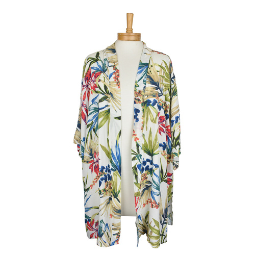 THSK1042: (2pcs) White: Flowers and Leaves Kimono Jacket