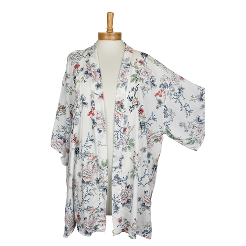 THSK1043: (2pcs) White: Small Flowers Kimono Jacket