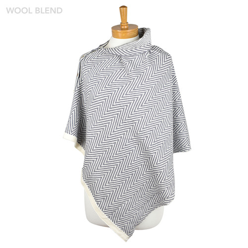 THSP2024: Grey: Herringbone w Button Poncho