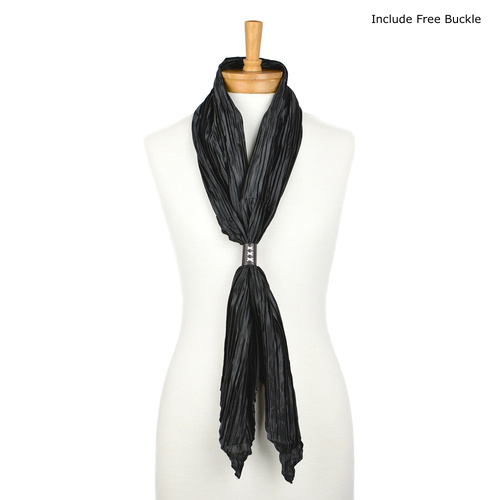THSS1697: Black: Plain Crimped Scarf