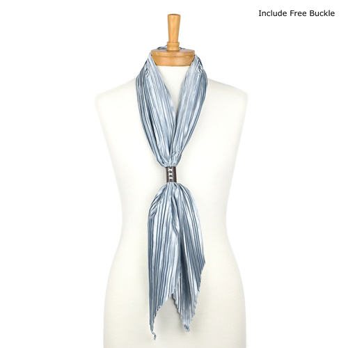 THSS1700: Silver: Plain Crimped Scarf