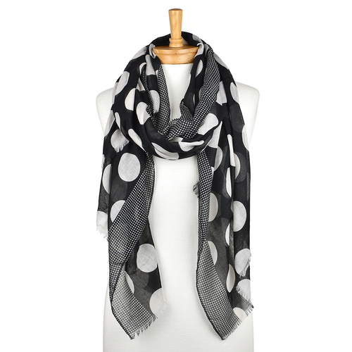 THSS1835: Black: Big Polka Dots Scarf