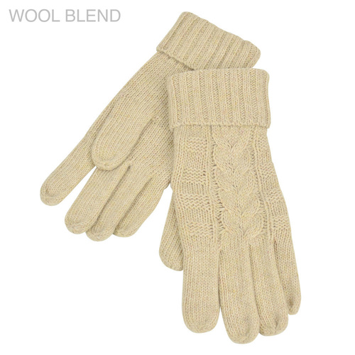 THSS1895GX: Latte: Braid Knitted Gloves