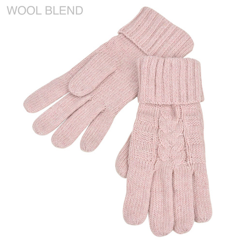 THSS1896GX: Dusty Pink: Braid Knitted Gloves