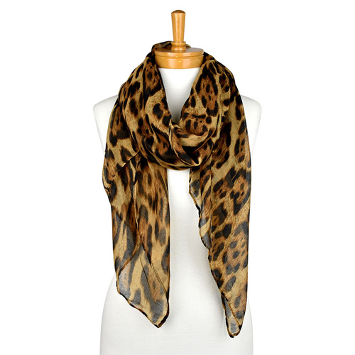 THSS1925: Brown: Shaded Leopard Print Scarf