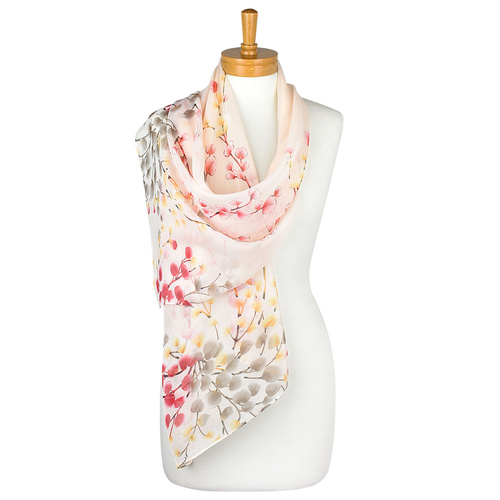 THSS1955: Beige: Colourful Leaves Scarf