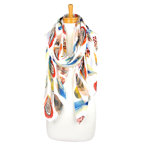 THSS2001: Tangerine: Multicolour Feather Scarf