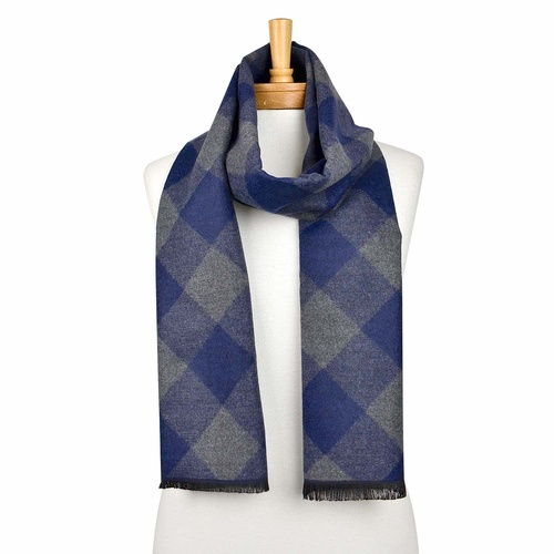 THSS2045: Navy: Diamond Check Scarf