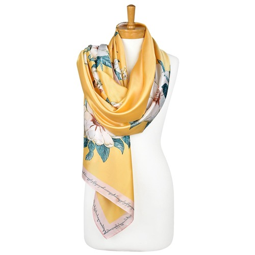 THSS2131: Cornflower Yellow: White Begonia Flower Scarf