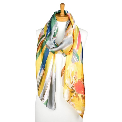 THSS2145: Orange Green: Multi Colour Scarf