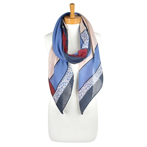 THSS2196: Denim: Leopard Border Scarf