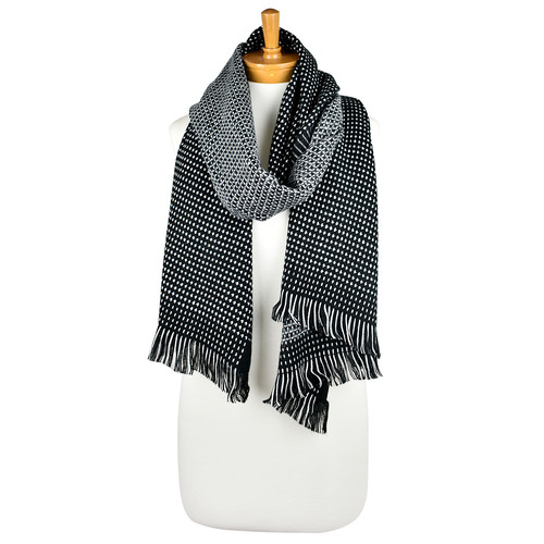 THSS2266: Black: Reversible Stitch and Check Scarf