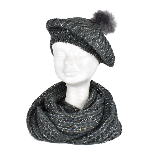THSSN1089 Dark Grey: Sequine Brioche Snood and Beanie Set