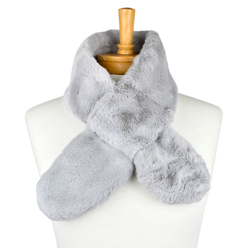 THSSN1115: Grey: Soft Fur Collar