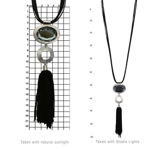 THSJ1148: (2pcs) Silver: Diamonte Pendant with Tassels: PU Leather Necklace