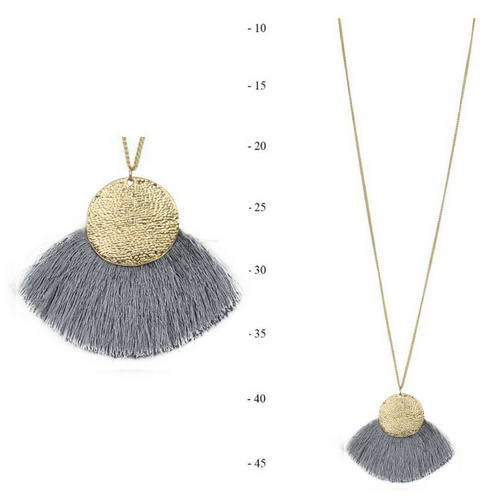 THSJ1190:(3pcs) Grey : Fan Tassels Necklace