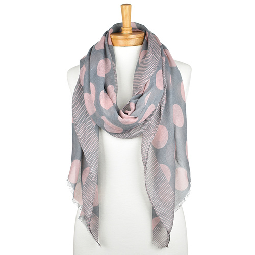 THSS1837: Dusty Pink: Big Polka Dots Scarf
