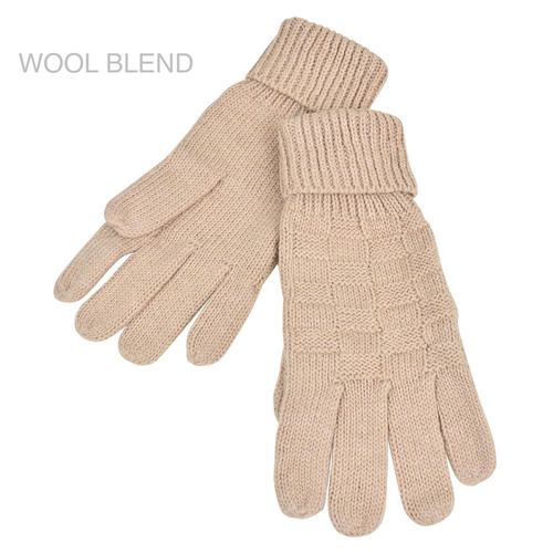 THSS1888GX: Latte: Weave Knitted Gloves