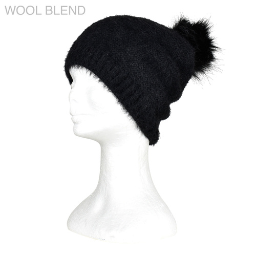THSS1893HX: Black: Furry Knitted Beanie