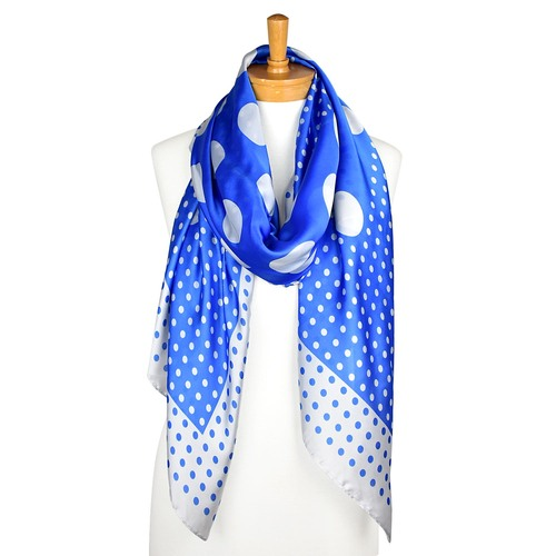 THSS2147: French Blue: Multi Polka Scarf